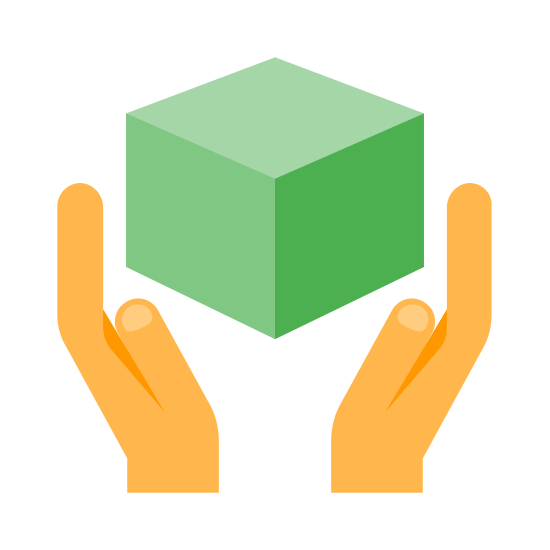 Manipuler avec soin icon. The icon is a logo for handle with care. The icon is shaped like two hands that are about to grab onto a cube.