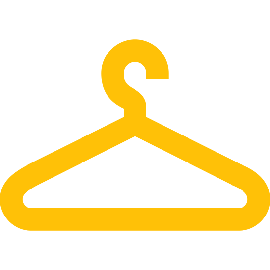 Wieszak icon. The icon is depicting a standard clothes hanger. The main portion of the object is triangular in shape with rounded edges and a hook protruding from the topmost portion of the object. The hook is facing toward the left.
