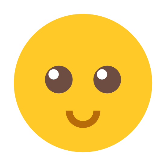 Happy icon. There is a circle with medium bluntness of a line. There is a curved line in the bottom showing the mouth. There are two dots above the curved line showing the eyes. Both the line and dots are centered in the circle.