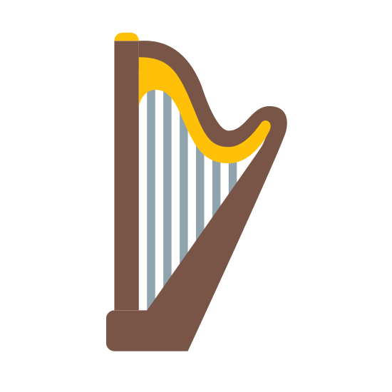 Harfa icon. A harp icon has many parts connected together, on one side there is column and the has a neck, and they both connect to each other. In the inside of the harp there are strings that are used to play the instrument. Since the harp is heavy, there is a foot on the bottom to keep it on the ground.