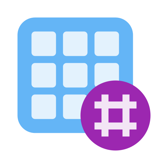 Hashtag Activity Grid icon. It's a logo on many small rectangles in a grid pattern. It should be four by four but in the lower left of the image the last rectangles of the lower two rows and half of the third rectangles of the lower two rows are covered by blank space and a hashtag image.