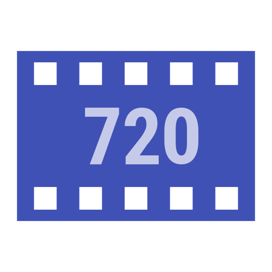 HD 720p icon. It's a logo for HD 720p reduced to the numbers 720p. The numbers are enclosed in a square that borders it. It looks like a 720p logo that you would see on a normal Smart Television set.