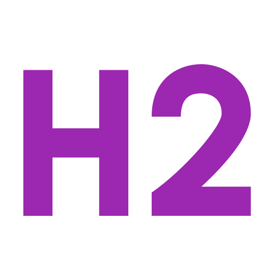 Header 2 icon. The logo for Header 2 is plain text. It has the letter H next to the letter 2 and both are drawn in square lettering with black bordering and an empty middle.