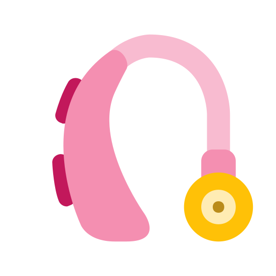 Hearing Aid icon. A hearing aid is used to amplify sound for the hard of hearing. It contains a small receiver that is placed inside the ear and a plastic or rubber tube that sits outside the lobe so the receiver stays in place.