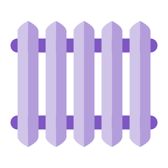 Radiador de aquecedor icon. The radiator logo consists of two horizontal tubes in the background of the image. On top of the tubes there are four vertical rectangles with pointed ends to represent the coils.