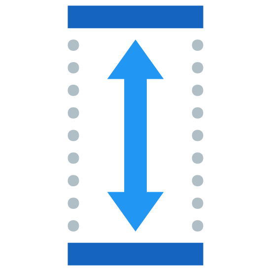 Height icon. It's a logo that has two arrows which point up and down. The arrow is placed inside a rectangle and the side walls are dotted rather than a smooth line.