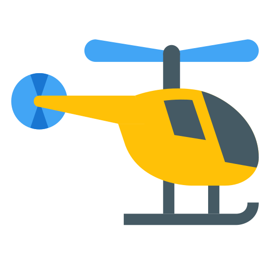 Helicopter icon. It's logo of a helicopter. It is not flying it is stationary. It has a propeller on top and landing devices on the bottom. It actually has a second propeller on the back of it also.