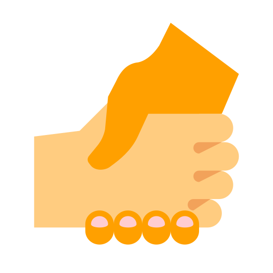 Helping Hand icon. There are two hands both firmly grasping each other. It would appear that the two hands are in the middle of a handshake, or it could be someone reaching to grab and help someone up.