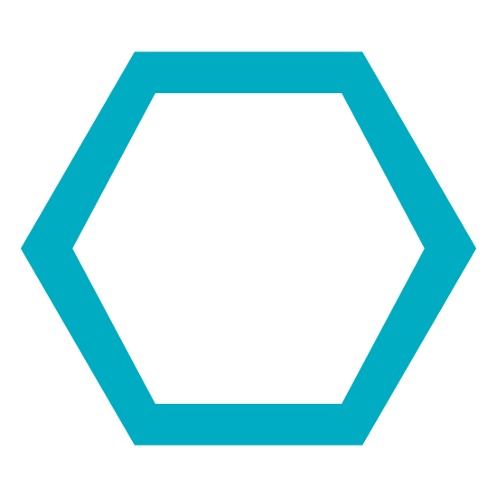 六角形 icon. It is a hexagon with six straight lines that meet to form a shape with six sides. On each point of the hexagon there are dots on top of the corner. There are six corners on the outside, so there are six dots on each corner. The center of the hexagon is empty.