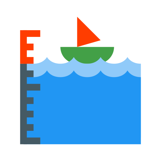 Przypływ icon. It is the left bottom corner only of a box. Inside the box  is a boat very close to the top of the  box. It is a small boat. It is floating on waves.