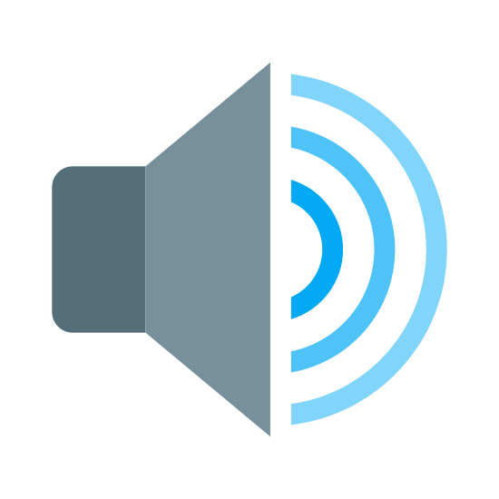 "Audio icon. This is an icon for showing high volume. There is a triangularly shaped speaker facing to the right with ""C"" shaped sound waves coming out of it. There are three sound waves each getting bigger as they move away from the speaker."