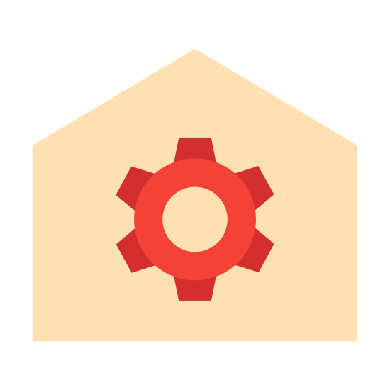 Automatyka domowa icon. The home automation icon displays a house, and the house has a gear inside. The gear has six spokes and a hole in the center. The house has a roof that's slanted on both sides.