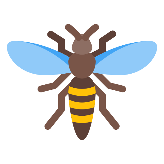 Szerszeń icon. This is an image of a hornet.  The hornet has a slender body with a head, thorax, abdomen with three segments and two antennae.  The hornet also has three pairs of legs and two wings.