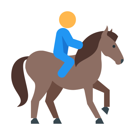 Jazda konna icon. This icon is showing a human being mounted on top of a horse. The human is holding onto the back of the horses' neck, and the horse is shown walking with one foot in the air.