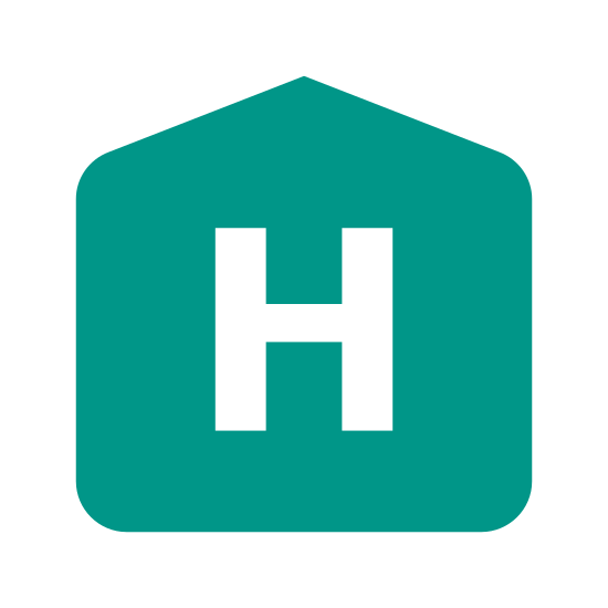 Hospital Sign icon. The icon is shaped like a common square with four equal sides in length with very slightly curved corners. Inside of the square is a capitalized letter H placed directly at the center.