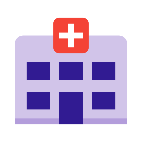 Szpital 3 icon. This icon is a square. The top two corners are rounded. In the middle of the top is a smaller square with all four edges rounded. In the middle of the main square are 4 rectangles.