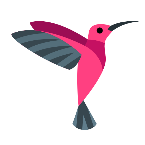 Koliber icon. It's a outline of a humming bird as it is flying with it's body almost vertical.  It appears as it's trying to eat nectar from a flower.