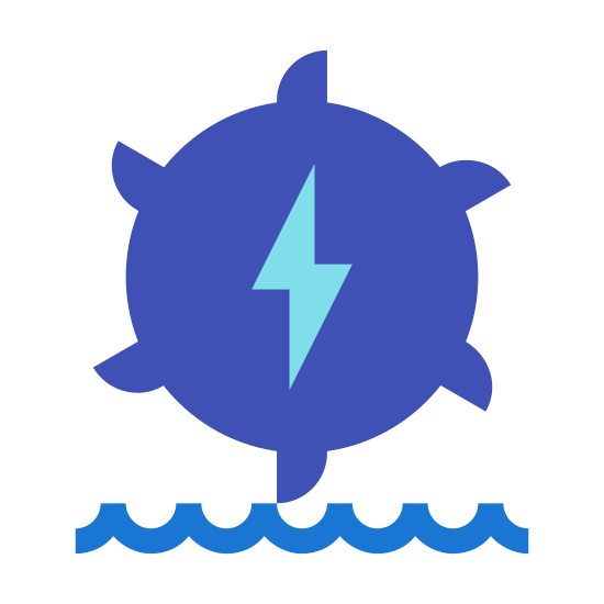 Hydroelectric icon. It's a logo for hydroelectric power that shows a gear that looks like a sun with an electric bolt in the center. It is depicted over two horizontal lines that are waves.