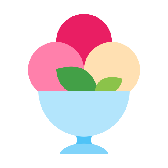 Ice Cream Sundae icon. This is a drawing of a bowl that has some sort of a base on the bottom. On the top there are mounds of circular food coming out of it which appears to be ice cream.