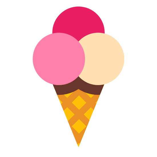 Ice Cream Cone icon. The icon is shaped like a checkered board cone with the pointy end pointing downwards. At the top of the cone shape are two circle shapes horizontal to each other. On top of the two circles is another semi circle that is partially hidden.