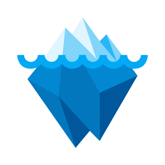 Iceberg icon. There is a wavy line in the middle of this object. Part of the object is above the wavy line and looks like triangular mountains. The other part is below it and looks like a square with a small square cut out of the bottom of it.