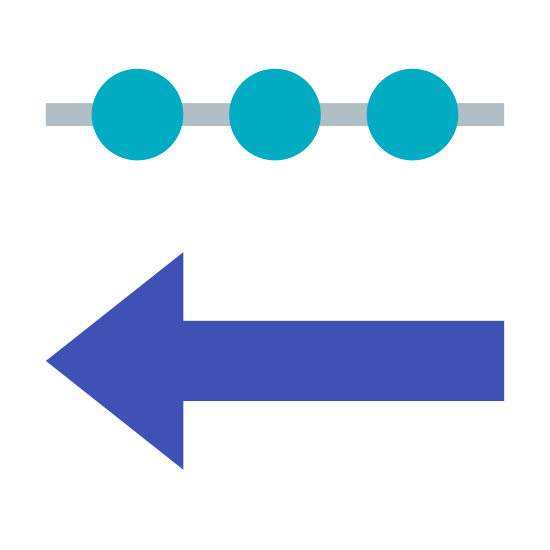 """Danye przychodzące icon. This """"incoming data"""" symbol consists of a single horizontal line interrupted by three circles. Directly underneath this is a horizontal line with two right-facing diagonal lines at the left end, making an arrow pointing left. It is a line with three circles in it, with an arrow pointing left underneath it."""