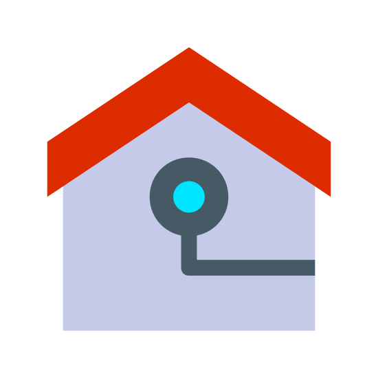 Indoor Camera icon. This image shows the inside of a house. The circular object in the middle is a camera, indicating that this is an indoor camera.