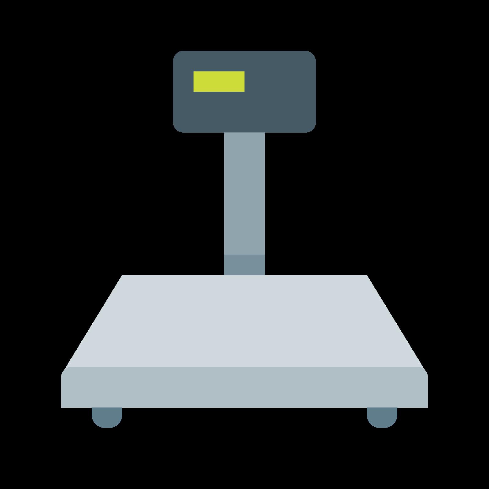 工业秤 icon. It's an image of a scale.  There is a scale platform at the bottom of the image.  There is a readout that is elevated from the scale platform.  The readout is attached to the scale by a support.  It looks like a commercial scale.