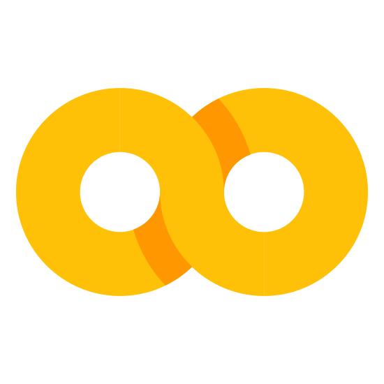 Infinite icon. The image is the infinity symbol. It looks like a horizontal number eight. The lines are doubled like the image was traced over but there is space between the lines. Nothing is touching the figure.