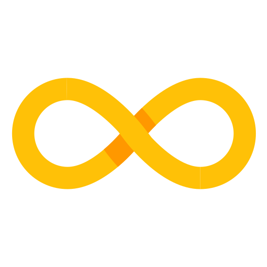 Unendlichkeit icon. The icon for Infinity is a large, vertical eight. There is a very small space where the eight meets at the middle on the top line and the bottom line.