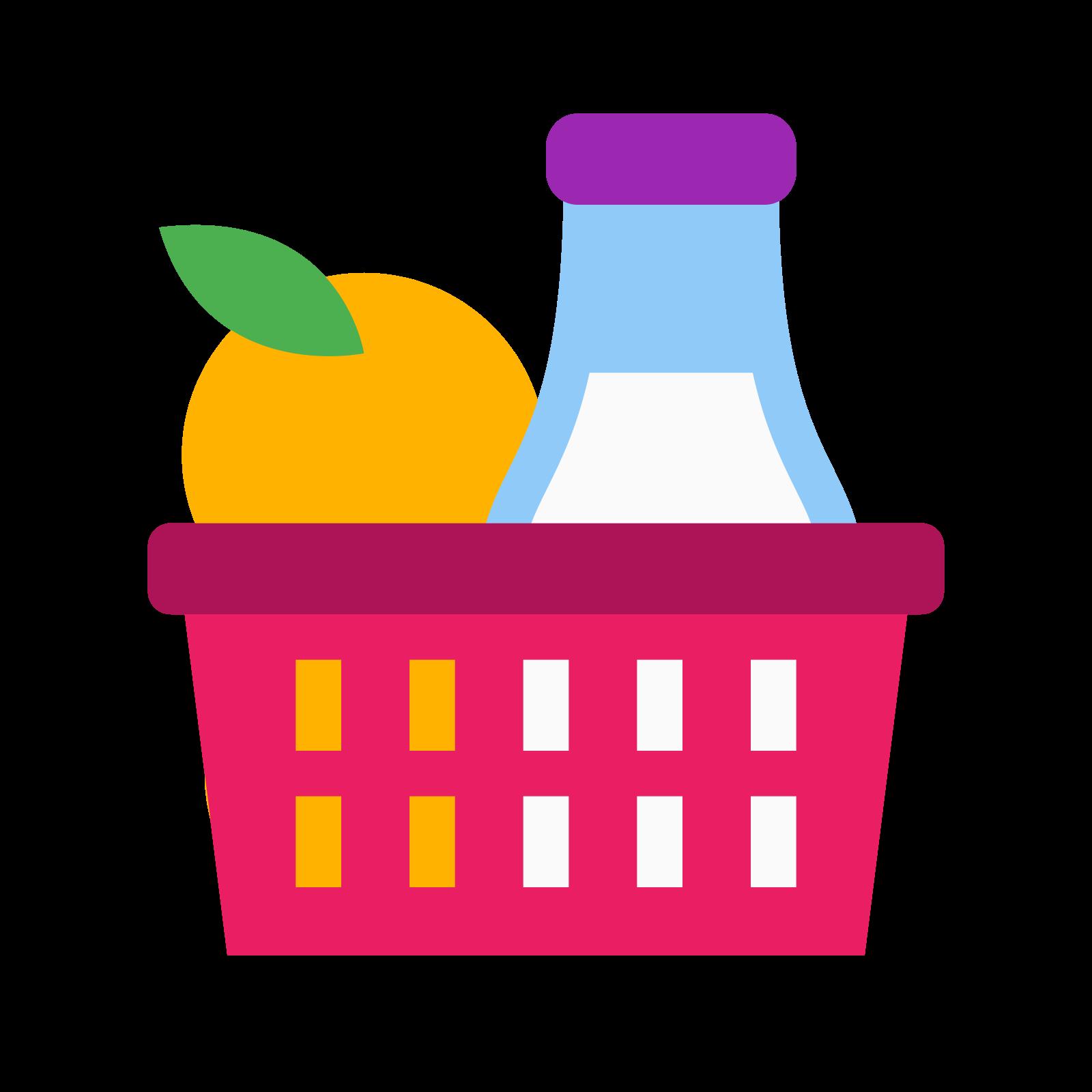 材料 icon. The logo displays a shopping basket one would use in a grocery store in lieu of a cart for carrying smaller amount of items, indicating shopping for specific ingredients. Inside the basket is a few items, one of which is a bottle as if it's displaying milk, and the other two are vague shapes.
