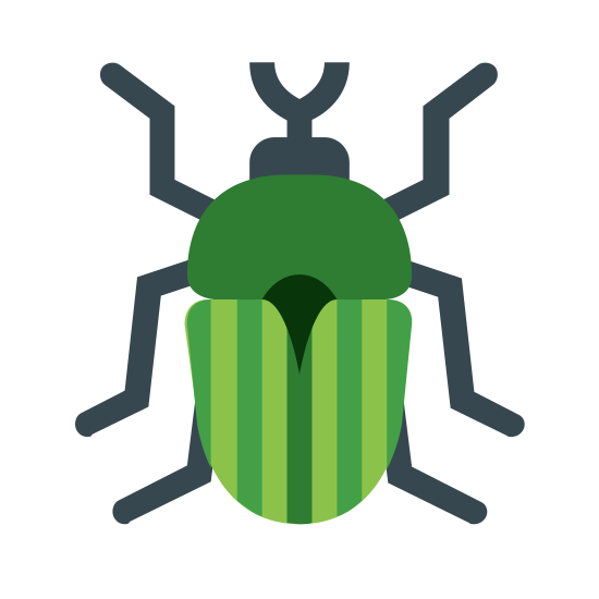 Insect icon. This logo at first glance resembles a ladybug. It has two antennae on its head, three slightly bent legs on each side of its body, and two large wings with dots covers them.