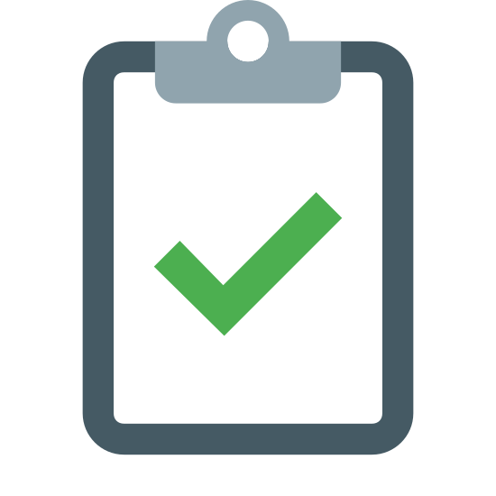 Kontrola icon. This is an image of a clipboard. It is a rectangle with a smaller rectangle signifying a sheet of paper attached to it. On the paper there is a large check mark.