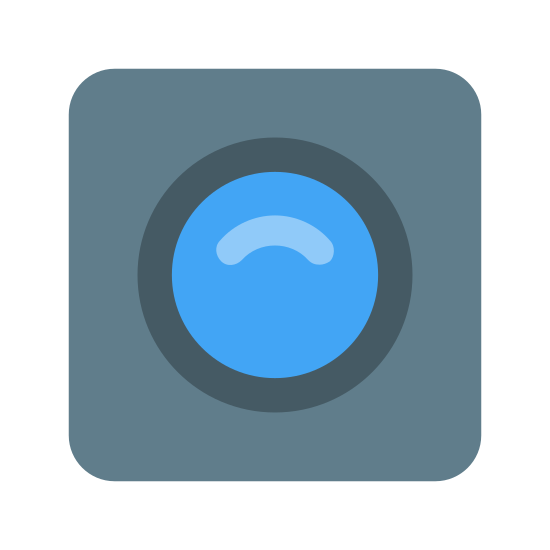Web Camera icon. This icon is a small square with rounded edges. Inside the square is two circles. One circle is smaller than the other and is inside the larger circle, which is in the middle of the square. The image looks like the lens of a camera.