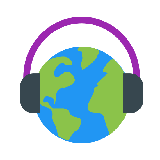 インターナショナルミュージック icon. The image is a globe with lines going through it. The lines are horizontal and vertical with a slight curve. On the globe there are over the ear head phones. There are not wires connected to the headphones.