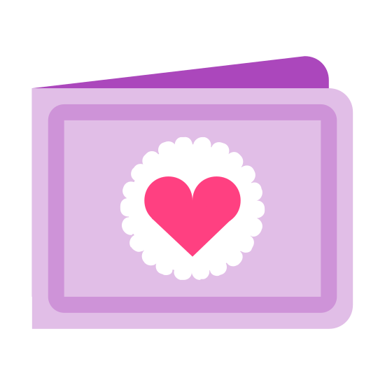 Zaproszenie icon. There is a rectangle. another diagonal line extends from the top left corner to create a three dimensional impression. in the middle of the rectangle is a circle. within the circle, a heart has been drawn.