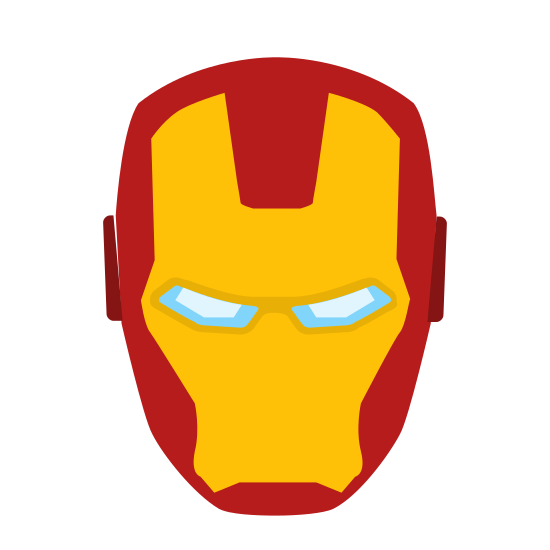 Człowiek z żelaza icon. It is the head or mask of Iron Man. It is head-shaped, with two smaller slits for the eyes. It has small protrusions for the ears on each side about halfway up the mask. There is also a frontal faceplate within the mask.