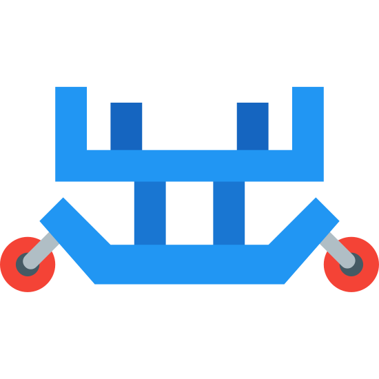 Jet Engine Transportation Cradle icon. The image is of a cart with wheels. There are four points on the cart that is sticking up but it is not covered. The top is flat. On the bottom there is a curved bar with a wheel on each curved end.