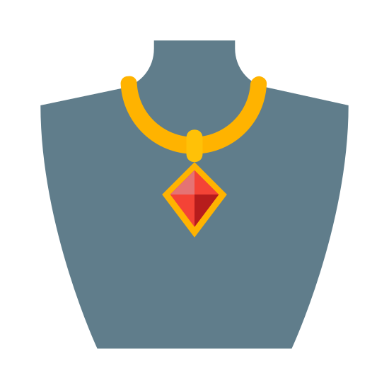 Biżuteria icon. A necklace with a thin chain and large diamond shaped pendant is draped on a jewelry bust. The jewelry bust is shaped like half of a female chest and includes part of the neck, shoulders, and cuts off right above the breast line.