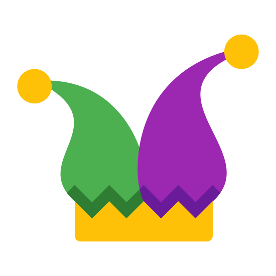 Joker icon. This is a picture of a hat similar to a Santa's hat. It has two triangles at the top instead of one, and they are pointing in opposite directions. There are small balls on the end of each triangle.
