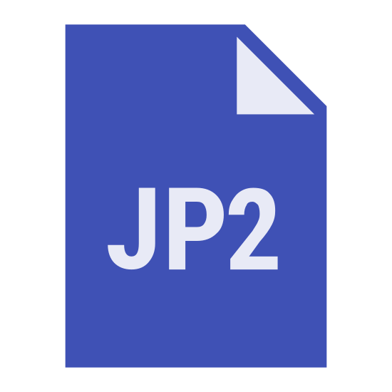 JP2 icon. This icon for JP2 is a rectangular piece of paper, with a larger height than width. The top right corner of the paper is folded over, and in the center of the paper is written the letters and number JP2.
