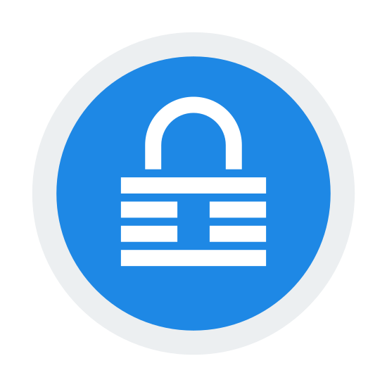 Keepass icon. This is an image of a circle.  Inside of the circle is a padlock shape that has a rectangular keyhole in its center.  Going across the padlock are three horizontal lines.
