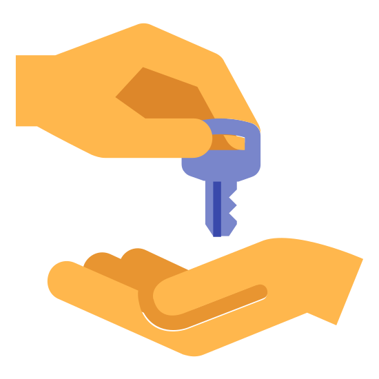 Lease icon. It's a logo of a key changing hands. One hand extends from the right on bottom with its palm facing up. The other hand extends from the left on top and is dropping a key into the other hand.
