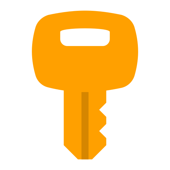 Klucz icon. The icon is a key, consisting of a blade and a handle. The blade has a series of small notches on it formed from straight lines with angular cut-outs. The handle consists of a circle with a semicircle cut out, for putting the key on a keyring.