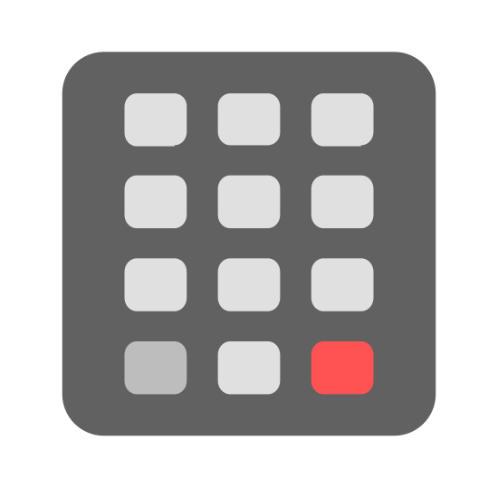 Keypad icon. It is a series of ten rectangles drawn separately from one another.  They are arranged in the same pattern as a cellular phone keypad, with only the number buttons displayed. It is a three by three pattern, with one button underneath the pattern and centered.