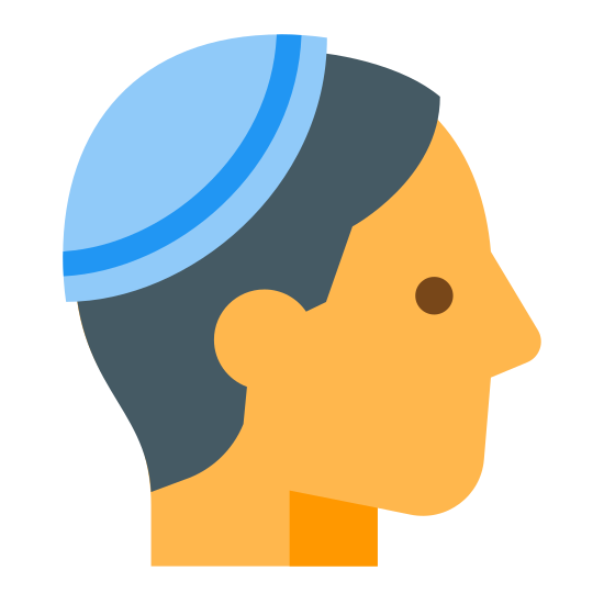 Kippah icon. The icon is a picture of the logo for Kippah. The icon is a picture of what appears to be a human head. The humans head is facing to the right, and happens to be missing a mouth. There is a very tiny hat on top of the persons head.