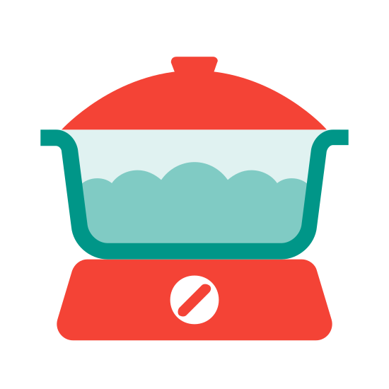 Kitchenwares icon. The logo is of a slow cooker, with a see through crock.  There is a dial on the base and a lid.  There are two handles, one on each side. There is no border, just the image of the slow cooker.