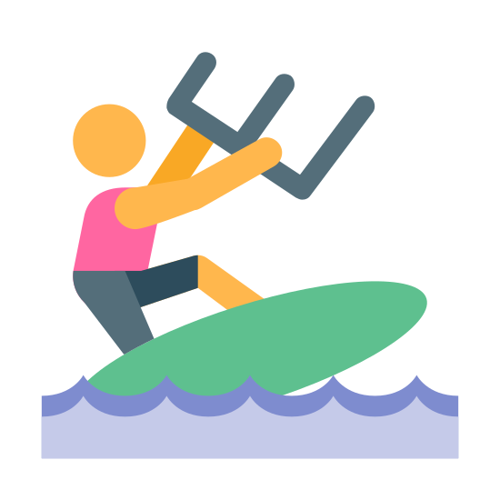 Kitesurfing icon. The icon is of a man like figure. The man like figure is on a surf board that is on a wavy line. He is holding two handles with his hands.
