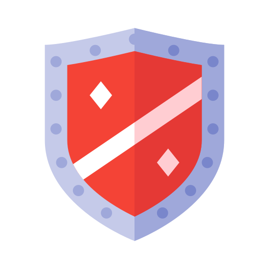 Defense icon. There is a single shield, with an only slightly curved top as opposed to the more curvy ones. In the middle of the shield there is two diagonal lines, cutting it in half, and on each half there is one diamond shape.