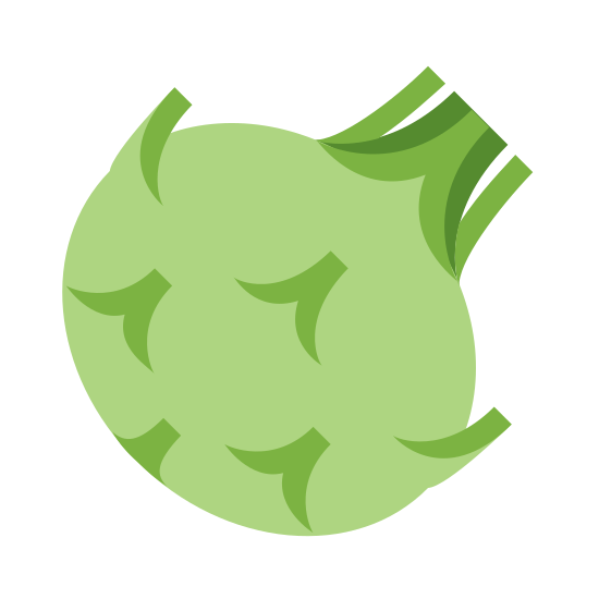 Kohlrabi icon. The image is of a rounded shape with a few spikes coming out like petals. At the top and a little to the left there is a little tuft of three spikes like blades of grass. The petal like spikes are on the sides and body of the round object.
